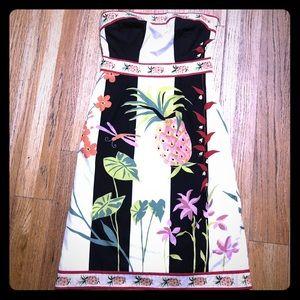 J Crew strapless 💯 cotton tropical pinup dress